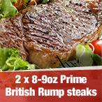2 x 8-9oz Prime British Rump steaks