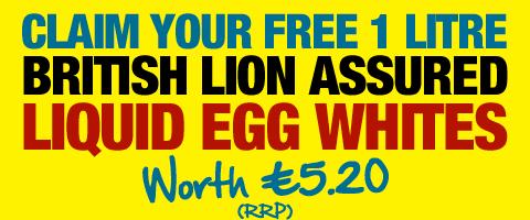Claim your FREE British Liquid Egg Whites 1 Litre Carton - worth £4